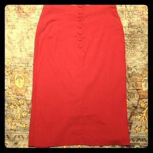 High-waisted Retro Pencil Skirt in bright red